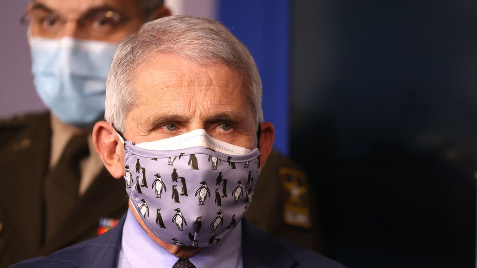 WASHINGTON, DC - NOVEMBER 19: Dr. Anthony Fauci, director of the National Institute of Allergy and Infectious Diseases, wears a protective mask during a White House Coronavirus Task Force press briefing in the James Brady Press Briefing Room at the White House on November 19, 2020 in Washington, DC. The White House held its first Coronavirus Task Force briefing in months as cases of COVID-19 are surging across the country ahead of the Thanksgiving holiday. (Photo by Tasos Katopodis/Getty Images)