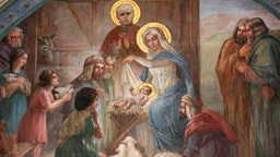 Nativity scene fresco in Saint Joseph des Nations church.