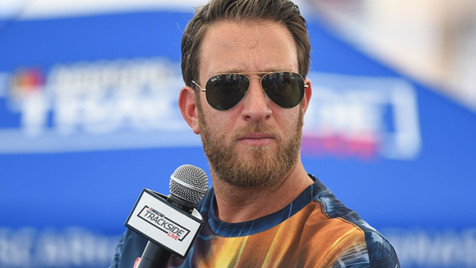 LAS VEGAS, NV - SEPTEMBER 15: David Portnoy, founder of Barstool Sports, is interviewed at the Trackside Live Stage in the LVMS Neon Garage before the South Point 400 Monster Energy NASCAR Cup Series playoff race on September 15, 2019, at Las Vegas Motor Speedway in Las Vegas, NV.