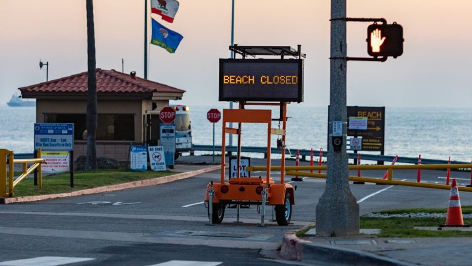 Beaches in Los Angeles County, CA, USA remain empty and in full lockdown as the government tries to tackle the Covid-19 Pandemic through closures of once popular public places. 04-01-20.