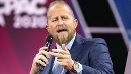NATIONAL HARBOR, MD - FEBRUARY 28: Brad Parscale, campaign manager for Trump's 2020 reelection campaign, speaks on stage with Laura Trump, President Donald Trumps daughter in-law and member of his 2020 reelection campaign, during the Conservative Political Action Conference 2020 (CPAC) hosted by the American Conservative Union on February 28, 2020 in National Harbor, MD.