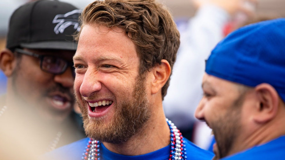 ORCHARD PARK, NY - SEPTEMBER 29: Barstool Sports founder Dave Portnoy attends a Buffalo Bills tailgate before the game against the New England Patriots at New Era Field on September 29, 2019 in Orchard Park, New York. New England defeats Buffalo 16-10. (Photo by Brett Carlsen/Getty Images) *** Local Caption *** Dave Portnoy