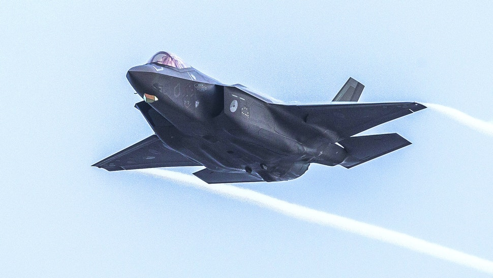 An F-35 military aircraft of the Royal Netherlands Air Force trains on targets at the NATO training location at the Vliehors Range on Vlieland.
