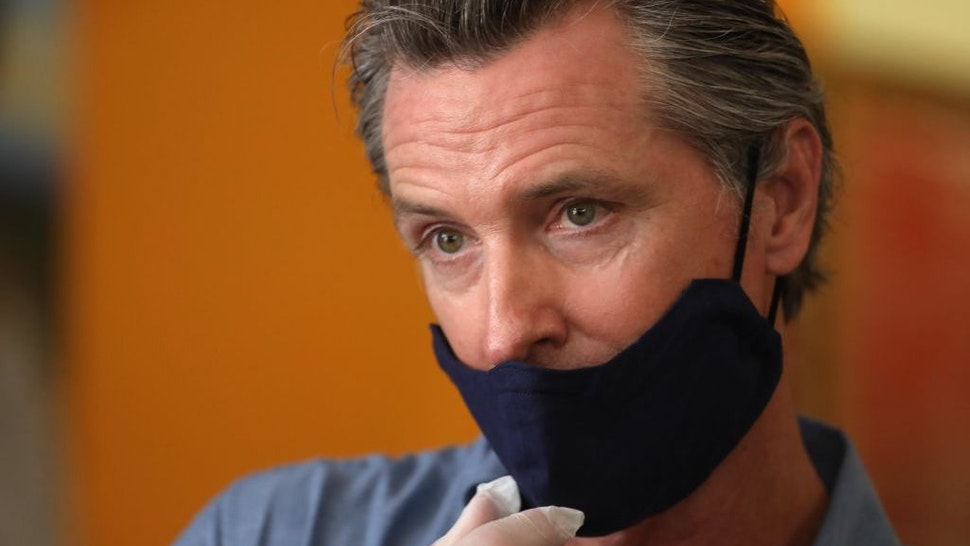 LOS ANGELES, CA - JUNE 03, 2020 - - California Governor Gavin Newsom is interviewed while visiting the Hot and Cool Cafe in Leimert Park after several days of protest in Los Angeles on June 3, 2020. (Genaro Molina / Los Angeles Times)