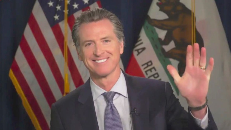 LOS ANGELES - JUNE 17: James chats with California Governor Gavin Newsom from his garage on THE LATE LATE SHOW WITH JAMES CORDEN, scheduled to air Wednesday June 17, 2020 (12:37-1:37 AM, ET/PT) on the CBS Television Network. Image is a screen grab. (Photo by CBS via Getty Images)