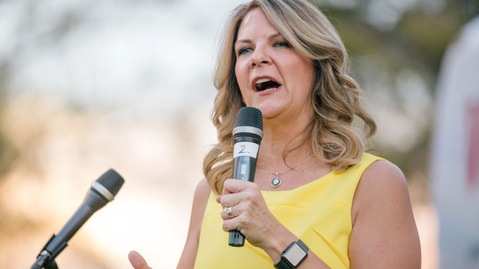 Kelli Ward, Republican U.S. Senate candidate from Arizona, speaks during the 'Road To Victory' bus tour stop at the Pioneer Living History Museum in Phoenix, Arizona, U.S., on Friday, Aug. 24, 2018.