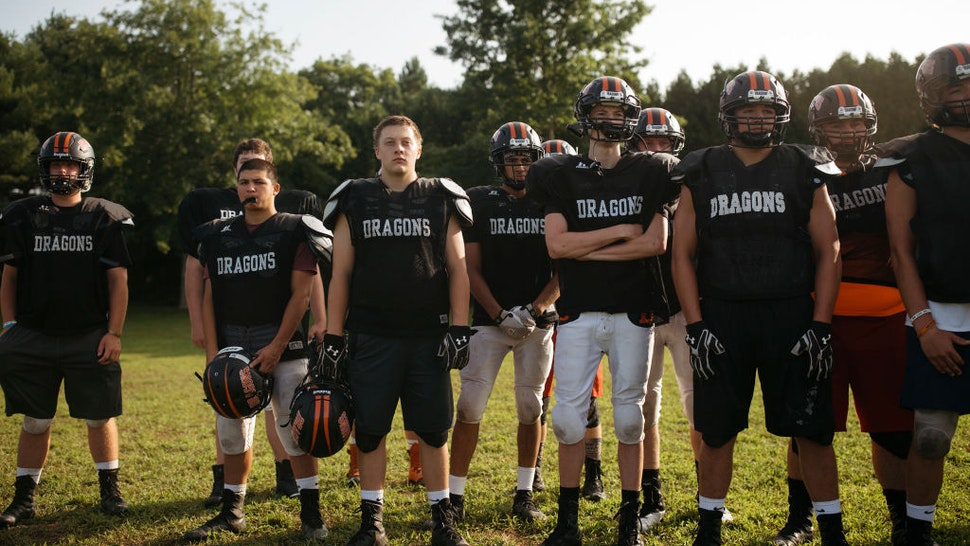Brunswick football players at practice on Tuesday, August 21 2018.