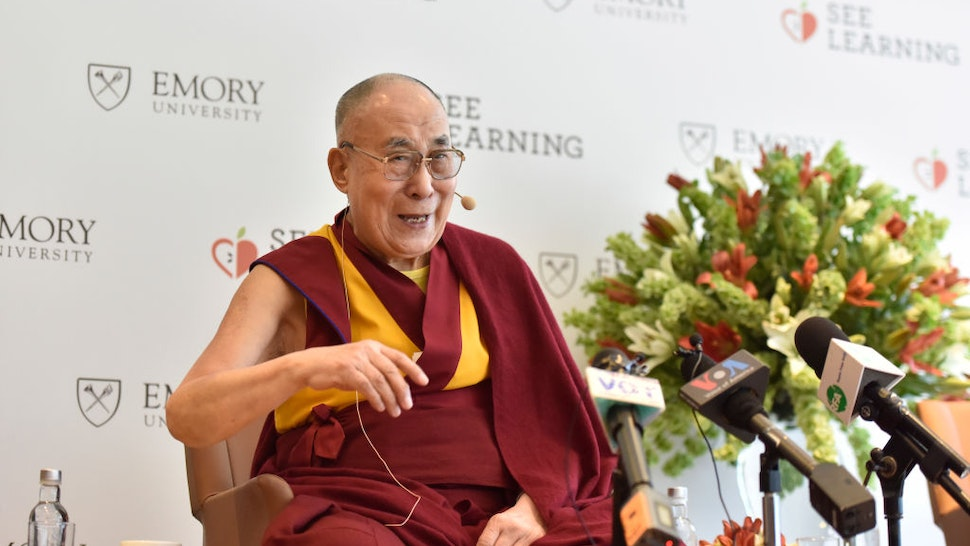 """NEW DELHI, INDIA - APRIL 4: Tibetan spiritual leader Dalai Lama during a press conference at Hotel Andaz, in Aerocity, on April 4, 2019 in New Delhi, India. The Dalai Lama reiterated that he is not seeking independence for Tibet, but would prefer a """"reunion"""" with China under mutually acceptable terms. The 83-year-old Dalai Lama has been living in exile in India since a failed 1959 uprising in Tibet. (Photo by Sanjeev Verma/Hindustan Times via Getty Images)"""