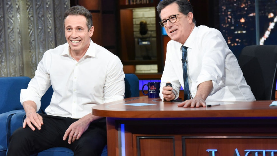 NEW YORK - MAY 2: The Late Show with Stephen Colbert and guest Chris Cuomo during Thursday's May 2, 2019 show. (Photo by Scott Kowalchyk/CBS via Getty Images)