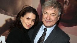 """Hilaria Baldwin and husband Alec Baldwin pose at the opening night of the revival of Ivo van Hove's """"West Side Story""""on Broadway at The Broadway Theatre on February 20, 2020 in New York City."""