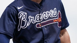 FORT MYERS, FL- MARCH 11: A detail shot of an Atlanta Braves jersey during a spring training game between the Atlanta Braves and Minnesota Twins on March 11, 2020 at Hammond Stadium in Fort Myers, Florida. (Photo by Brace Hemmelgarn/Minnesota Twins/Getty Images)