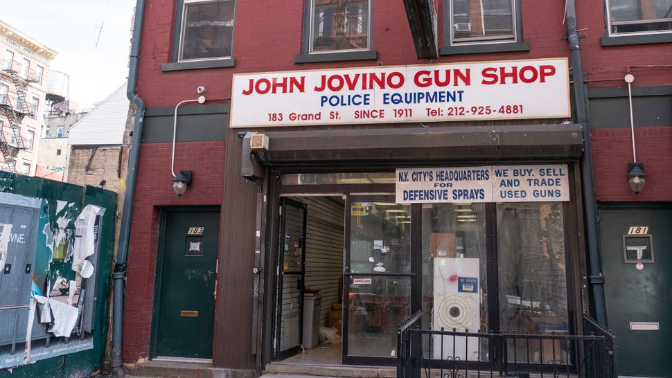General view of the oldest gun shop in the city on Grand street. which is closed down because of the owners inability to pay rent without sales during COVID-19 pandemic.