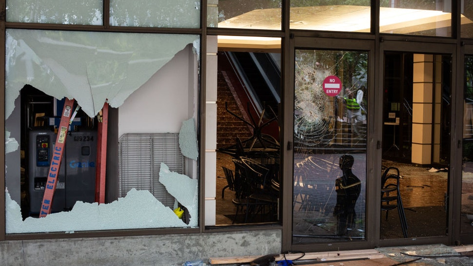 An entrance to Bellevue Square Mall is seen after looting took place on May 31, 2020 in Bellevue, Washington. Protests due to the recent death of George Floyd took place in Bellevue in addition to Seattle, with looting in Bellevue and at least one burned automobile there.