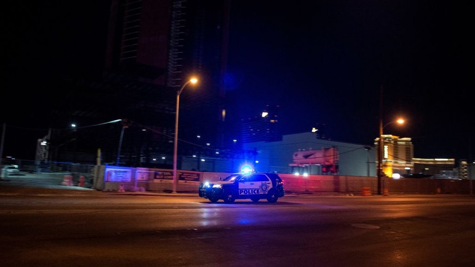 A police car makes its way to the scene after a shooting was reported outside Circus Circus hotel and casino, on June 1, 2020,