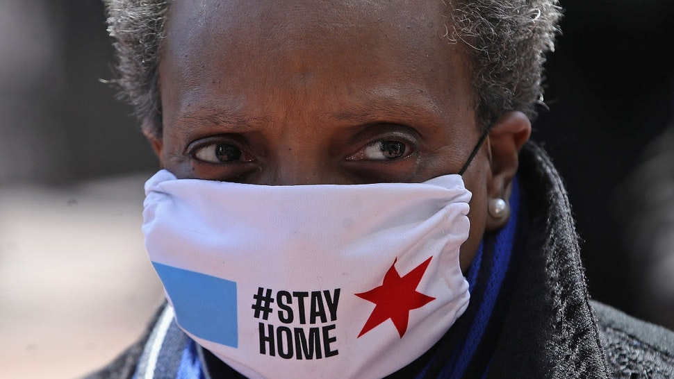 CHICAGO, ILLINOIS - APRIL 16: Chicago mayor Lori Lightfoot arrives at Wrigley Field on April 16, 2020 in Chicago Illinois. Wrigley Field has been converted to a temporary satellite food packing and distribution center in cooperation with the Lakeville Food Pantry to support ongoing relief efforts underway in the city as a result of the COVID-19 pandemic. (Photo by Jonathan Daniel/Getty Images)