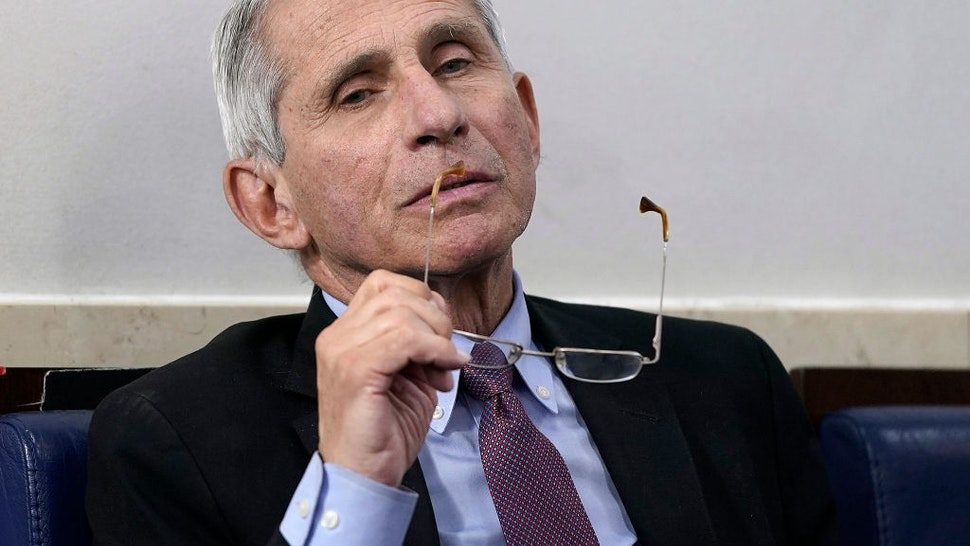 Anthony Fauci at a press briefing
