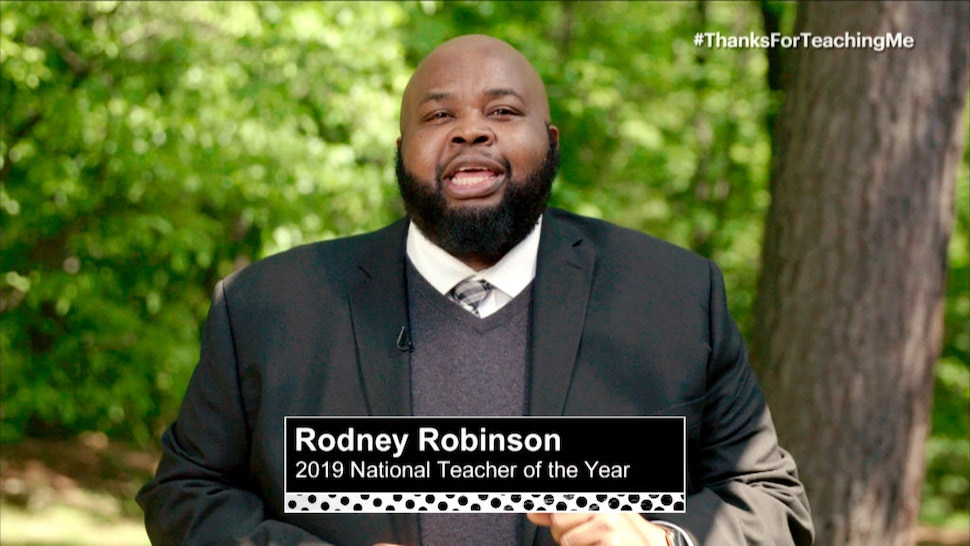 In this screengrab, Rodney Robinson 2019 National Teacher of the Year speaks during Graduate Together: America Honors the High School Class of 2020 on May 16, 2020.