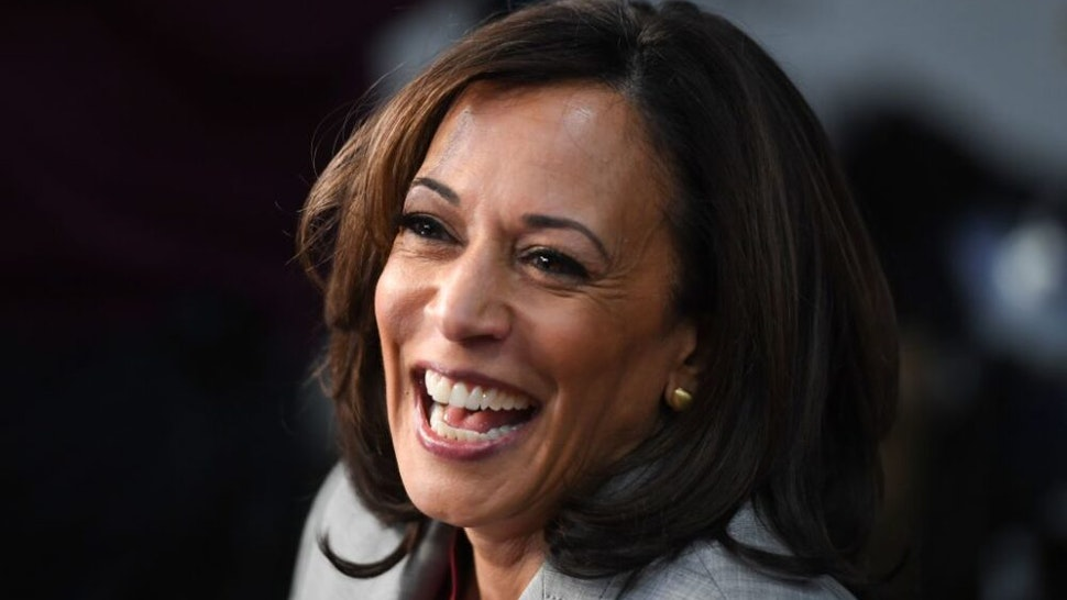 Democratic presidential hopeful California Senator Kamala Harris speaks to the press in the Spin Room after participating in the fifth Democratic primary debate of the 2020 presidential campaign season co-hosted by MSNBC and The Washington Post at Tyler Perry Studios in Atlanta, Georgia. - Democratic presidential nominee Joe Biden named Harris, a high-profile black senator from California, as his vice presidential choice on August 11, 2020, capping a months-long search for a Democratic partner to challenge President Donald Trump in November.