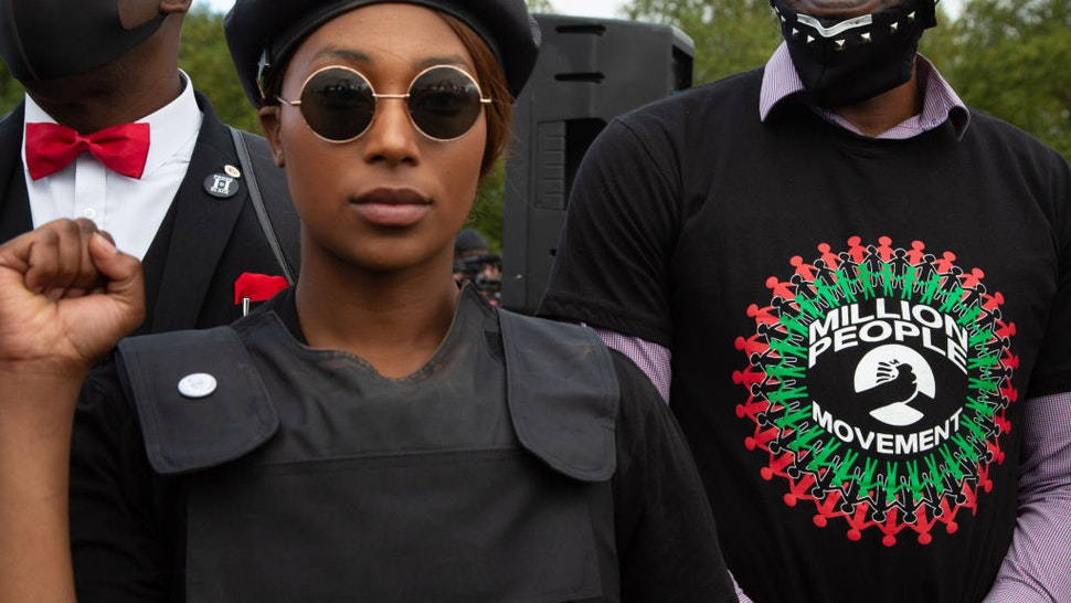 Sasha Johnson Co-organiser of the Million People March and Black Lives Matter activist takes part during the demonstration.