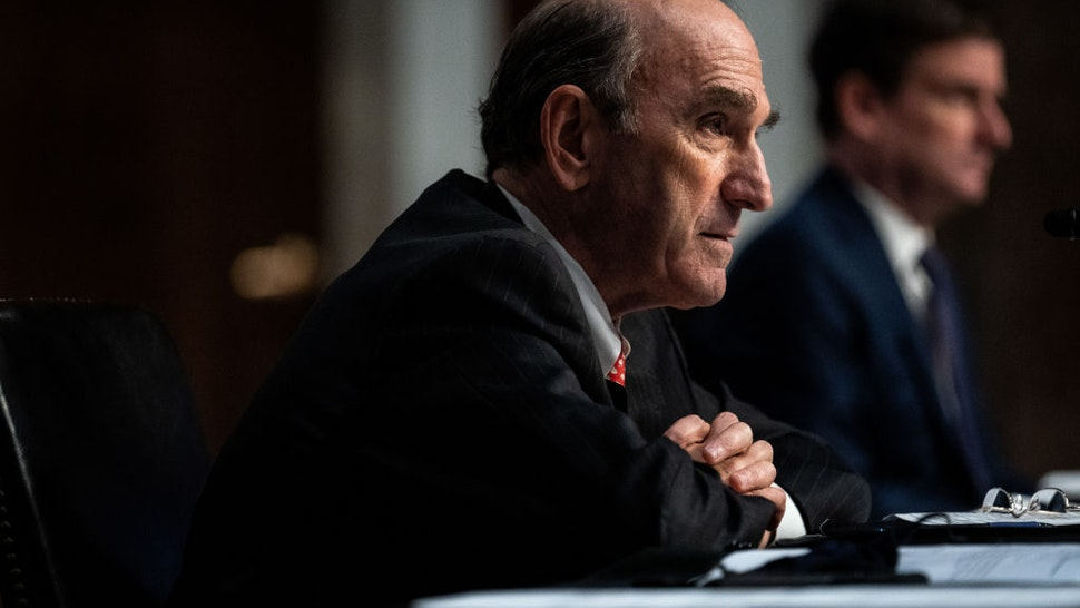 Elliot Abrams, special representative for Iran and Venezuela at the State Department, testifies during a Senate Committee on Foreign Relations hearing on US Policy in the Middle East on Capitol Hill on September 24, 2020 in Washington, DC.