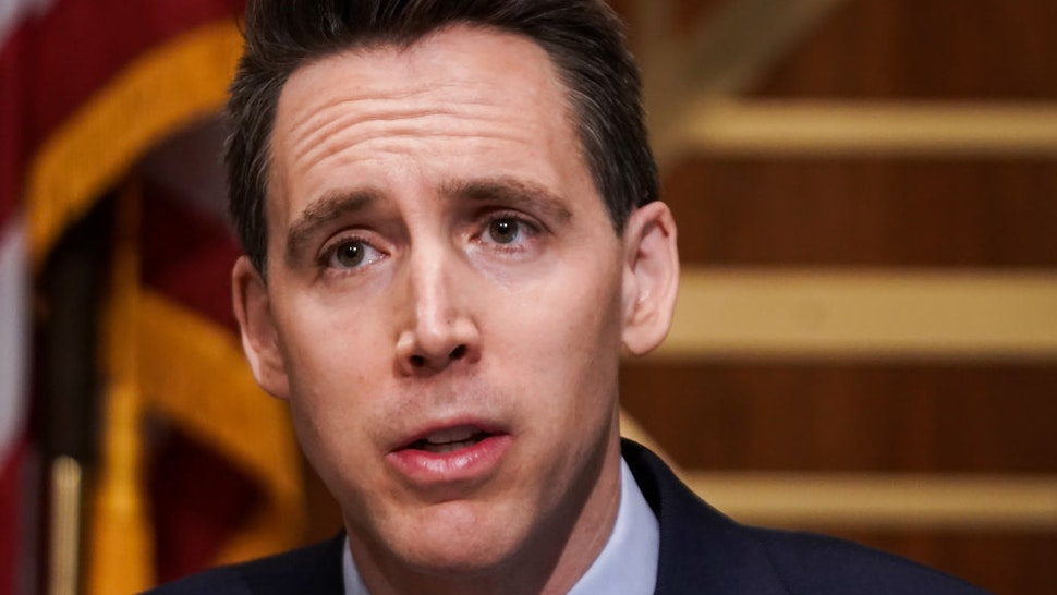 Sen. Josh Hawley (R-MO) asks questions during a Senate Homeland Security and Governmental Affairs Committee hearing to discuss election security and the 2020 election process on December 16, 2020 in Washington, DC.