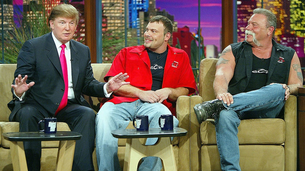 """Billionaire Donald Trump (L), """"American Choppers"""" Paul Teutel, Jr., and Paul Teutel, Sr. (R) appear on """"The Tonight Show with Jay Leno"""" at the NBC Studios on April 7, 2004 in Burbank, California."""