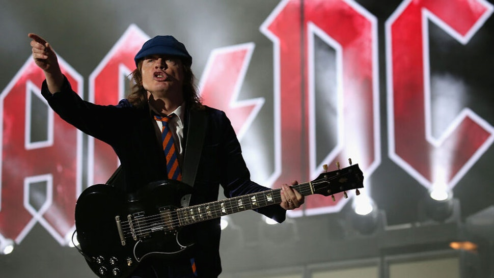 INDIO, CA - APRIL 17: Musician Angus Young of AC/DC performs onstage during day 1 of the 2015 Coachella Valley Music And Arts Festival (Weekend 2) at The Empire Polo Club on April 17, 2015 in Indio, California.