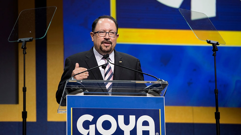 Bob Unanue, president of Goya Foods Inc., speaks at the official ribbon-cutting ceremony for the new Goya Foods Inc. corporate headquarters in Jersey City, New Jersey, U.S.