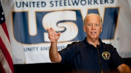 PITTSBURGH, PA - SEPTEMBER 7: U.S. Vice President Joe Biden speaks to union members and supporters at the United Steelworkers Headquarters following the annual Allegheny County Labor Day Parade September 7, 2015 in Pittsburgh, Pennsylvania. Biden has been subject of speculation about whether he will run for the U.S. presidency. (Photo by Jeff Swensen/Getty Images)
