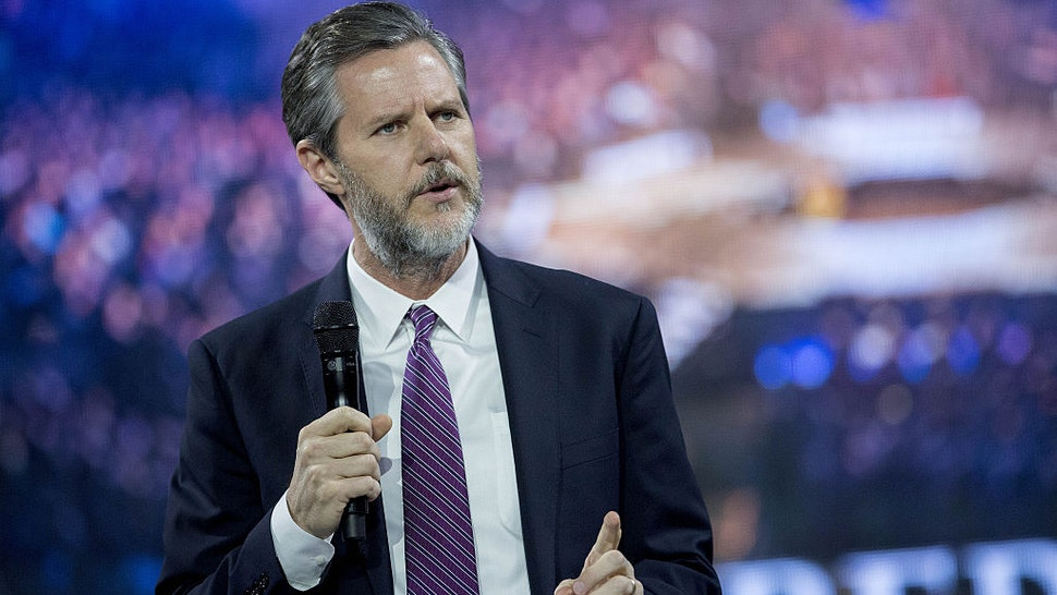Jerry Falwell Jr., president of Liberty University, speaks during a Liberty University Convocation with Ben Carson, 2016 Republican presidential candidate, not pictured, in Lynchburg, Virginia, U.S., on Wednesday, Nov. 11, 2015.