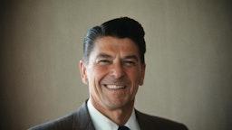 (Original Caption) Los Angeles, Calif.: Closeups of Ronald Reagan, Republican candidate for Governor of California.
