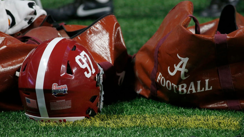 Helmet and ball bag during the college football game between the Alabama Crimson Tide and the Florida State University Seminoles on September 02, 2017 at the Mercedes-Benz Stadium in Atlanta, GA.