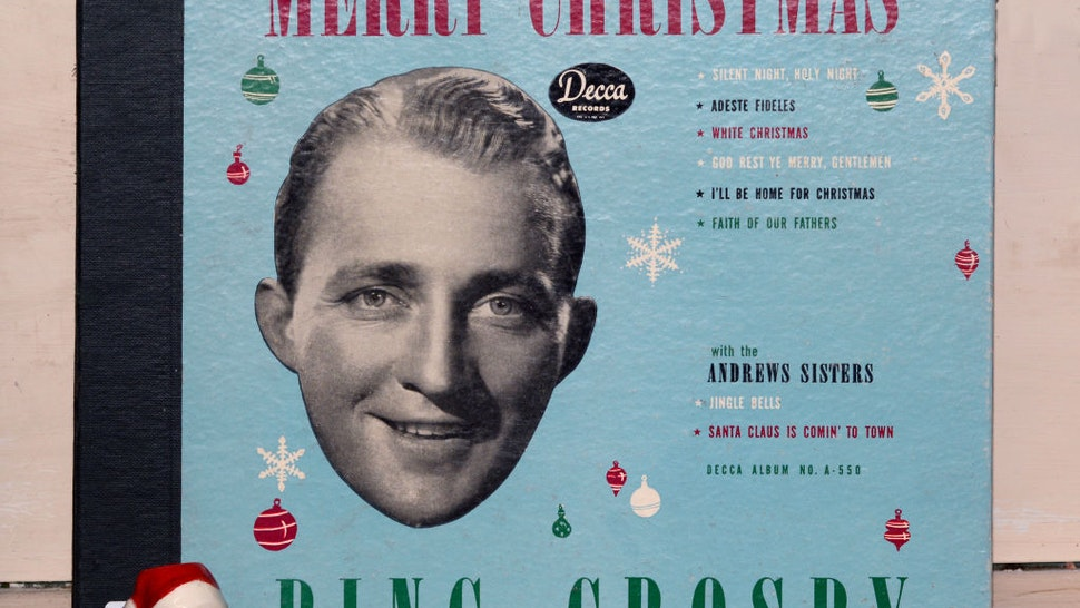 A copy of singer Bing Crosby's 1945 Decca label album 'Merry Christmas' for sale in an antique shop in Santa Fe, New Mexico.