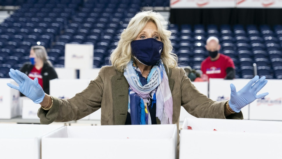 WASHINGTON, DC - DECEMBER 10: Dr. Jill Biden speaks to the media as she assembles care packages for military families for the holiday season on December 10, 2020 in Washington, DC. Hunter Biden, the son of President-elect Joe Biden, is under investigation by the Justice Department for his business dealings in China.