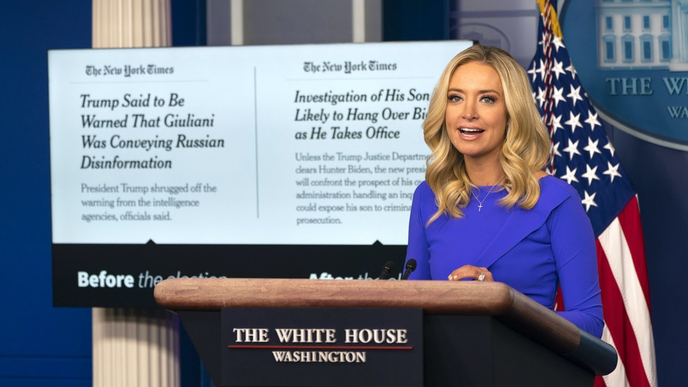 Kayleigh McEnany, White House press secretary, speaks during a news conference in Washington, D.C., U.S., on Tuesday, Dec. 15, 2020. Senate Majority LeaderMitch McConnellrecognizedJoe Biden as the winner of the U.S. election the day after the Electoral College confirmed his victory a pivotal moment that further cements PresidentDonald Trump's defeat.