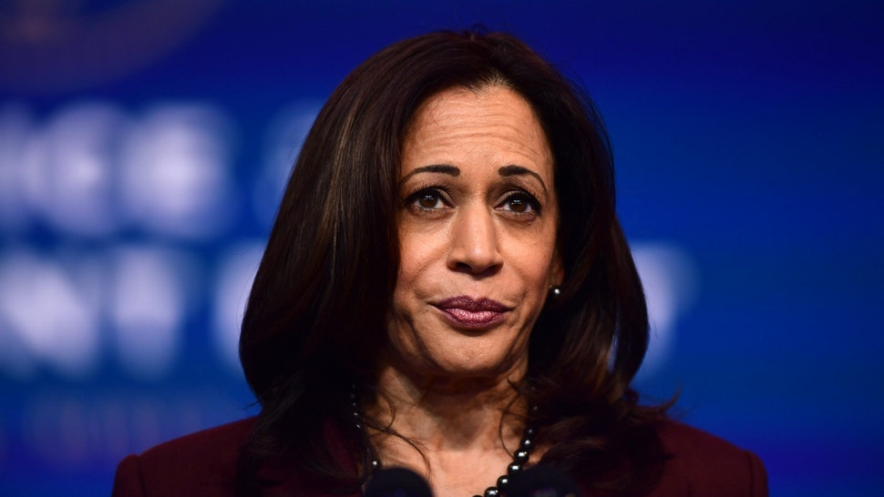 WILMINGTON, DE - NOVEMBER 24: Vice President-elect Kamala Harris speaks after President-elect Joe Biden introduced key foreign policy and national security nominees and appointments at the Queen Theatre on November 24, 2020 in Wilmington, Delaware.As President-elect Biden waits to receive official national security briefings, he is announcing the names of top members of his national security team to the public. Calls continue for President Trump to concede the election as the transition proceeds.