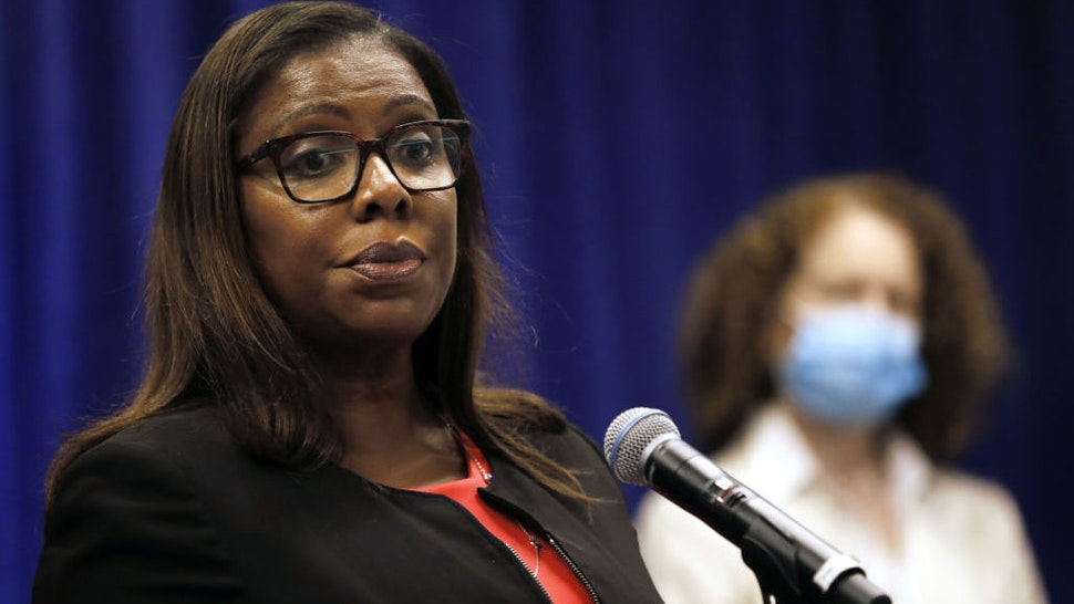 Letitia James, New York's attorney general, pauses while speaking during a news conference in New York, U.S., Thursday, Aug. 6, 2020. New York is seeking to dissolve theNational Rifle Association as the state attorney general accused the gun rights group and its current and former senior officials of engaging in a massive fraud against donors. Photographer: Peter Foley/Bloomberg