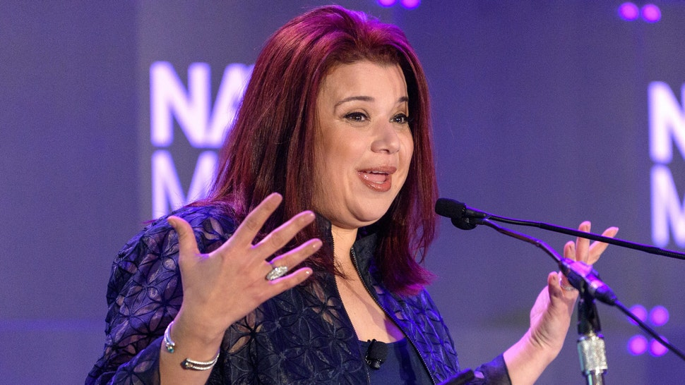 MIAMI BEACH, FL - JANUARY 22: Ana Navarro speaks on stage during NATPE Miami 2020 - Iris Awards at Fontainebleau Hotel on January 22, 2020 in Miami Beach, Florida.