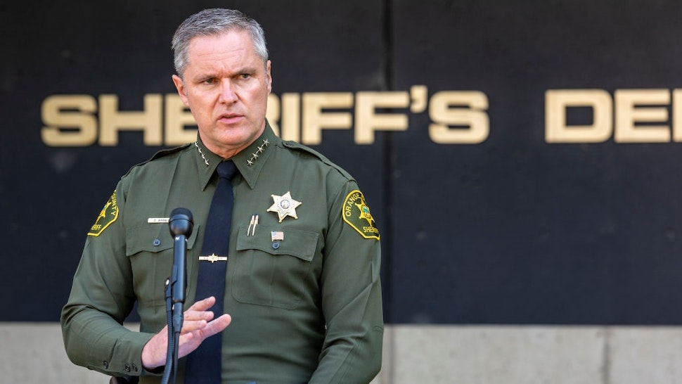 SANTA ANA, CA - JULY 24: Orange County Sheriff Don Barnes holds a press conference in Santa Ana on Thursday, September 24, 2020.