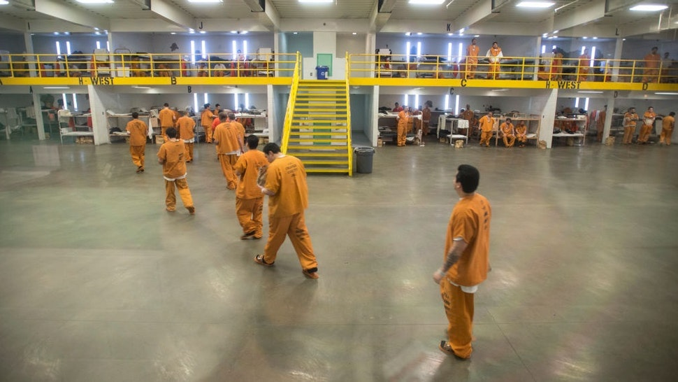 ORANGE, CA - MARCH 14: Detainees in a barrack holding area at the Theo Lacy Facility in Orange, California, on Tuesday, March 14, 2017. The Orange County sheriff conducted a media tour of the jail that included the intake area, the kitchen, an isolation unit and a modular holding area. (Photo by Jeff Gritchen/Digital First Media/Orange County Register via Getty Images)