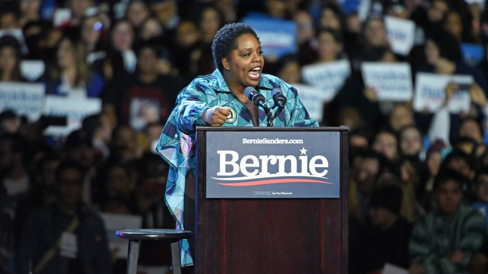 LOS ANGELES, CALIFORNIA - MARCH 01: Black Lives Matter co-founder Patrisse Cullors speaks at a Bernie Sanders 2020 presidential campaign rally at Los Angeles Convention Center on March 01, 2020 in Los Angeles, California.