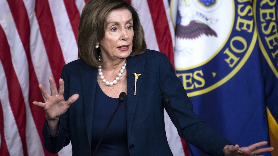 UNITED STATES - JANUARY 16: Speaker of the House Nancy Pelosi, D-Calif., conducts her weekly news conference in the Capitol Visitor Center on Thursday, January 16, 2020.