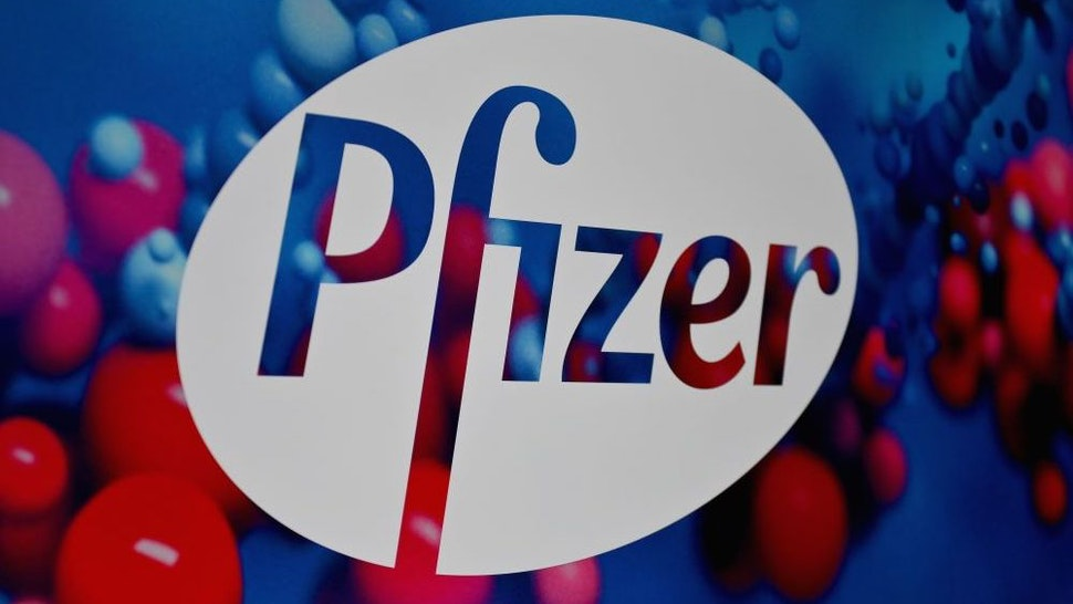 The Pfizer logo is seen at the Pfizer Inc. headquarters on December 9, 2020 in New York City.