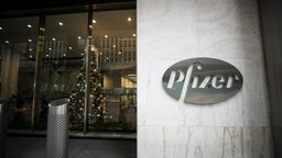NEW YORK, USA - DECEMBER 02: Pfizer head quarter is seen in Manhattan, New York City, United States on December 2, 2020. Pfizer/BioNTech coronavirus vaccine to be available next week in UK following regulator approval.