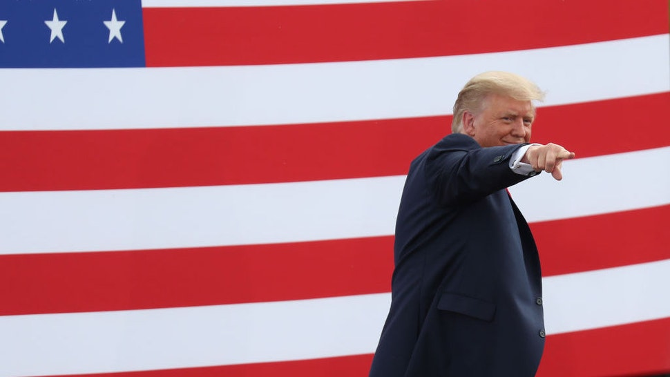 JUPITER, FLORIDA - SEPTEMBER 08: President Donald Trump gestures as he leaves after speaking about the environment during a stop at the Jupiter Inlet Lighthouse on September 08, 2020 in Jupiter, Florida. President Trump announced an expansion of a ban on offshore drilling and highlighted conservation projects in Florida. President Trump faces off against Democratic presidential candidate Joe Biden for the presidency. (Photo by Joe Raedle/Getty Images)