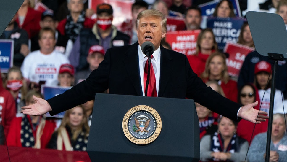 U.S. President Donald Trump speaks during a rally in Valdosta, Georgia, U.S., on Saturday, Dec. 5, 2020. Trumpberated Georgia's Republican governor before heading to the state to campaign for two key Senate candidates, keeping up attacks that party leaders worry could backfire. Photographer: Elijah Nouvelage/Bloomberg