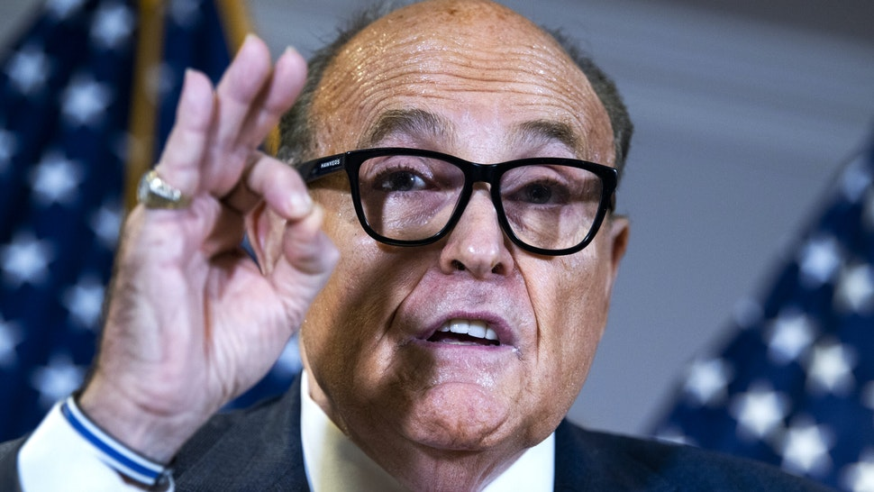 UNITED STATES - NOVEMBER 19: Rudolph Giuliani, attorney for President Donald Trump, conducts a news conference at the Republican National Committee on lawsuits regarding the outcome of the 2020 presidential election on Thursday, November 19, 2020.