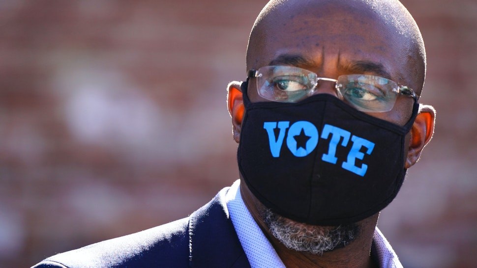 LITHONIA, GA - OCTOBER 03: Democratic U.S. Senate candidate Rev. Raphael Warnock is seen at a campaign event on October 3, 2020 in Lithonia, Georgia. Warnock is hoping to unseat incumbent Kelly Loeffler.