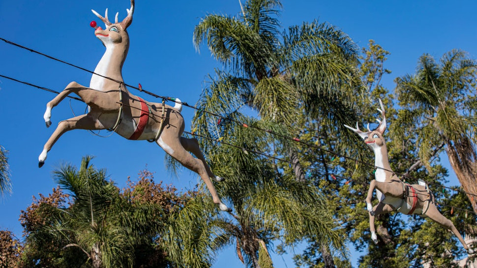 SAN DIEGO, CALIFORNIA - DECEMBER 20: General view of Christmas decorations in Balboa Park on December 20, 2020 in San Diego, California.