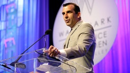 SAN JOSE, CA - APRIL 21: San Jose Mayor Sam Liccardo addresses the audience during the Watermark Conference For Women 2016 at San Jose Convention Center on April 21, 2016 in San Jose, California.
